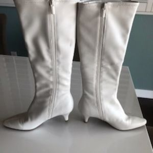 faux leather white boots